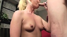 Dude has ass on his mind and gets this blonde to play with and butt fuck