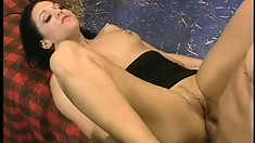 Horny brunette tart sucks and gets drilled in a crowded public saloon