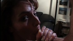 Hungry cock-sucking bitch Robin Wood is begging for warm jizz