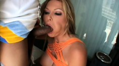 Cock starved white bitch enjoys feeding time with a black stud