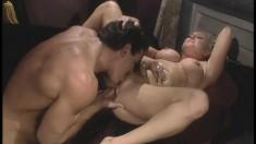 Buxom blonde Calli Cox screams as a huge dick invades her tight peach