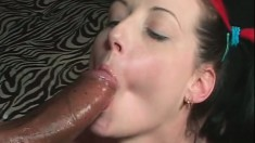 Lustful young brunette has four black dudes sharing her tight holes