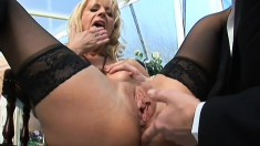 Hot blonde milf in black stockings feeds her passion for hard anal sex