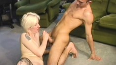 Kinky blonde broad with a nice pair of legs takes it down deep