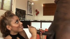 Ebony Krystal Wett rides a black dick until her peach gets creampied