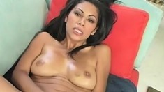 Luscious Latina fingers her snatch, sucks a cock and gets pounded deep