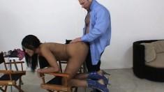 Ebony hottie Kapri Styles surrenders her juicy peach to a white stud
