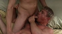 Cute blonde boys exchange oral pleasures and fuck hard on the bed